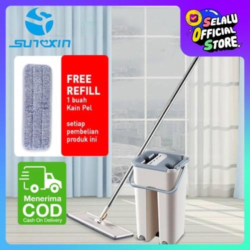 Foto Produk Alat Pel Lantai / Super Mop Dengan Ember Dapat 2 Kain Pel dari SUNXIN