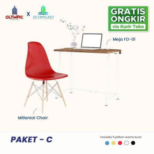 Foto Produk New Normal Paket C - Meja Belajar/ Meja Kerja + Kursi - Putih dari Olympic Furniture