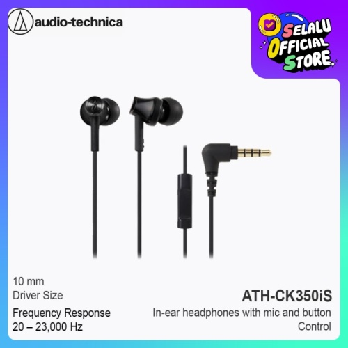 Foto Produk Audio-Technica ATH-CK350iS Earphone with Mic - Black dari Audio-Technica Official