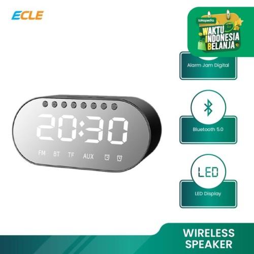 Foto Produk ECLE Bluetooth Wireless Speaker Jam Digital Alarm Bass Audio Stereo - Biru dari ECLE Official Store