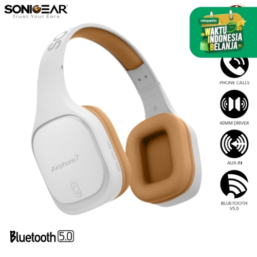Foto Produk SonicGear Airphone 7 Bluetooth Headphones With Microphone - White Gold dari Sonicgear Official Store