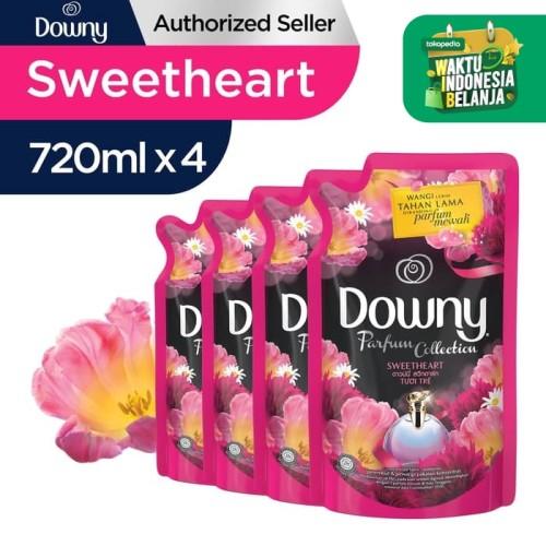 Foto Produk Downy Pelembut & Pewangi Pakaian Sweetheart Refill 720ml - Paket isi 4 dari P&G Official Store