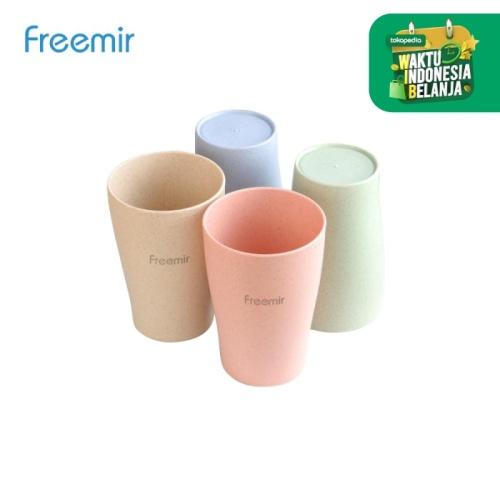 Foto Produk Freemir Gelas Wheat Straw/Gelas Minum isi 4 warna dari freemir Official Store