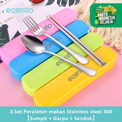 Foto Produk Ecentio 304Stainless Steel Garpu+Sendok(1Set 2Pcs) - Hijau dari ecentio Official Store