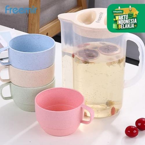 Foto Produk Freemir Teko jus air teh kopi wadah plastik dengan 4 cangkir dari freemir Official Store