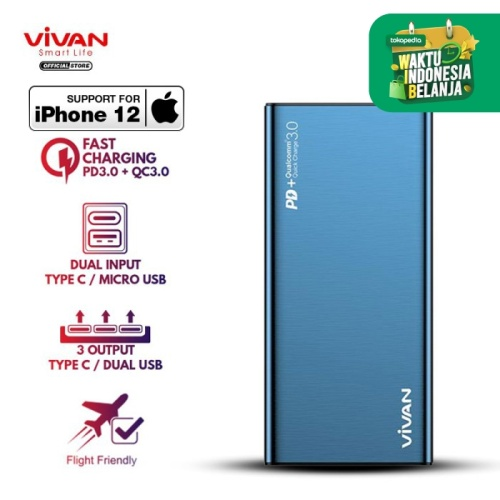 Foto Produk Power Bank 10000 mah VIVAN 2 USB Fast Charging QC3.0 PD 18W VPB-F10S - Biru dari VIVAN OFFICIAL SHOP