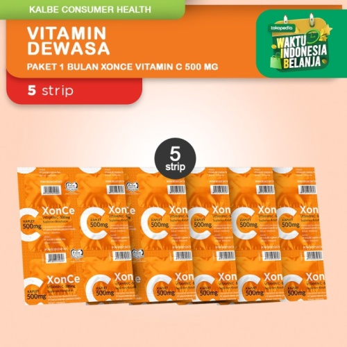 Foto Produk Vitamin C XonCe 500mg 1 Bulan - 5 Strip @ 6 Kaplet dari Kalbe Consumer Health