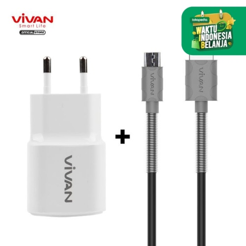 Foto Produk VIVAN FM100 Kabel Micro USB Grey + Charger Power Oval 2A USB White dari VIVAN OFFICIAL SHOP
