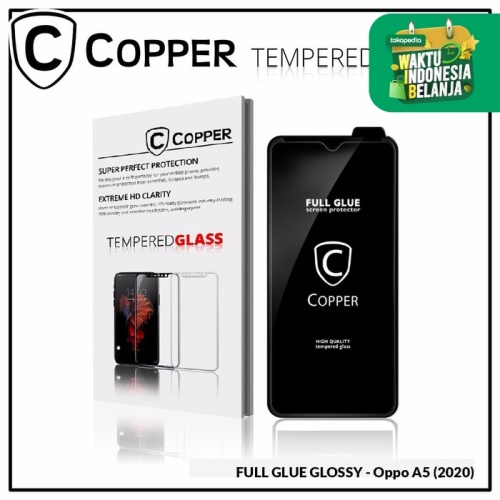 Foto Produk Oppo A5 (2020) - COPPER Tempered Glass Full Glue PREMIUM Glossy dari Copper Indonesia