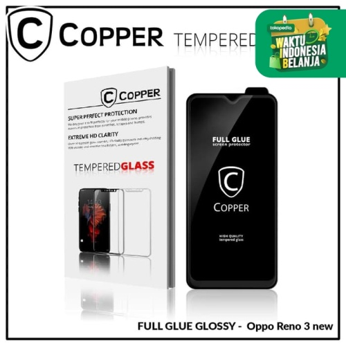 Foto Produk Oppo Reno 3 - COPPER Tempered Glass FULL GLUE PREMIUM GLOSSY dari Copper Indonesia