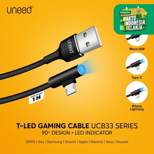 Foto Produk UNEED T-LED Kabel Data Type C Fast Charging Max 2.4A - UCB33C dari Uneed Indonesia