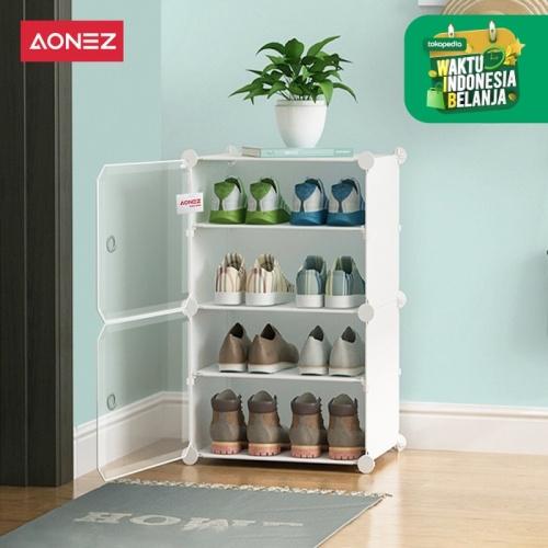 Foto Produk Aonez rak sepatu 4 tingkat rumah Tempat Sepatu - Putih, 1 baris dari AONEZ Official Store