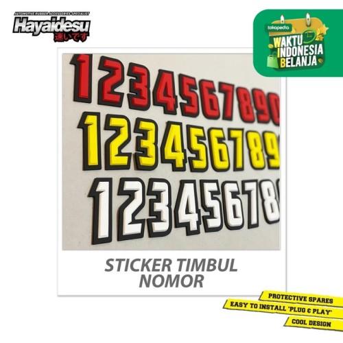 Foto Produk Hayaidesu Sticker Nomor Angka 3D Timbul Decal Karet Aksesoris Variasi dari Hayaidesu Indonesia