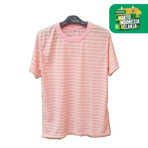 Foto Produk GARAF Kaos Pria Striple Salur Soft Katun Belang Garis Unisex - pink, XL dari Garaf Official