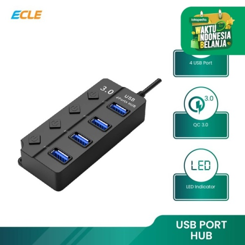Foto Produk ECLE Original USB 4 Port HUB 3.0 High Speed Komputer / Laptop Portable dari ECLE Official Store