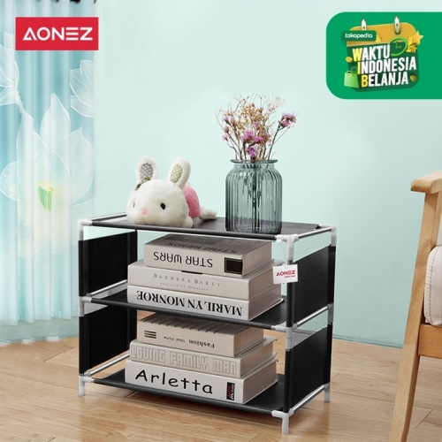 Foto Produk Aonez Rak sepatu sederhana 3 lapis kecil tempat sepatu shoe rack - Hitam, All Size dari AONEZ Official Store