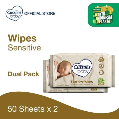 Foto Produk Cussons Baby Wipes Sensitive 50 Sheet X 2 dari Cussons Official Store