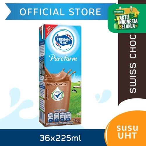 Foto Produk Frisian Flag Purefarm UHT Swiss Chocolate 225ml [36 pcs] dari Frisian Flag Official