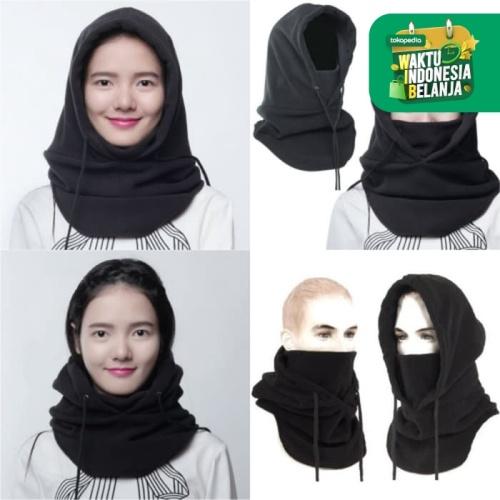 Foto Produk 4 in 1 Thermal Fleece Balaclava full face Masker Kupluk Polar Panjang - black dari lbagstore