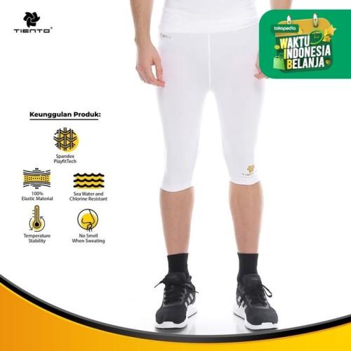 Foto Produk Baselayer Manset RashGuard Compression Tiento Half Pants White Origina - S dari TIENTO
