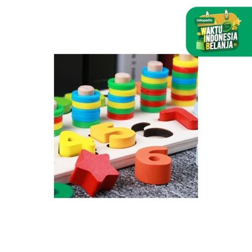 Foto Produk CMK040 Puzzle Kayu Susun 2in1 Angka dan Shape Mainan Edukasi Anak dari Mmtoys Indonesia