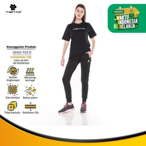 Foto Produk Tiento Baju Wanita T-shirt Move Black Celana Jogger Sport Black 1 Stel - L dari TIENTO