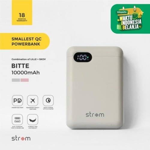 Foto Produk Strom Bitte Smallest QC PD Power Bank 10000mAh Real Capacity - Abu-Abu Muda dari Strom Indonesia