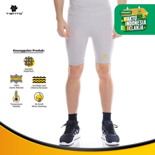 Foto Produk Tiento Baselayer Rashguard Compression Short Pants Grey Gold Original - M dari TIENTO