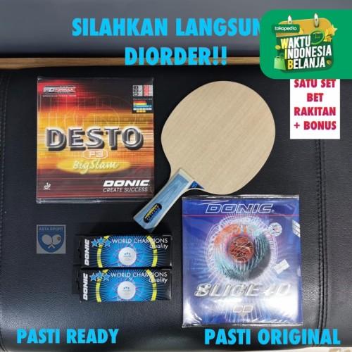 Foto Produk Bat Pingpong Bertahan Donic Defplay lengkap karet dan bola Set dari ASTA SPORT DONIC STORE