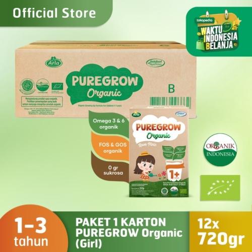Foto Produk 1 Carton PUREGROW Organic - Susu Formula Organik 1-3 Tahun 720gr Girl dari PUREGROW Organic House