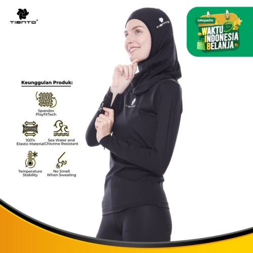 Foto Produk Tiento Baselayer Manset Baju Olahraga Wudhu Friendly Women - 5XL dari TIENTO