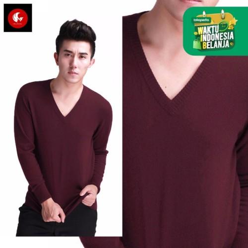 Foto Produk Sweater Rajut Knit Pria Leher V Marun Katun Polos Vleur Okechuku - Merah, L fit to XL dari Okechuku