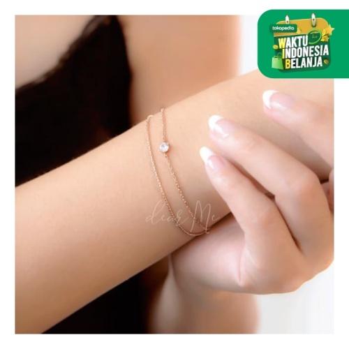 Foto Produk Dear Me - Martha Bracelet (S925 with 18K Gold Plating & Crystals) - Silver dari Dear Me Jewelry