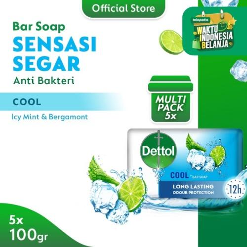Foto Produk Dettol Sabun Batang Cool 100gr - Isi 5 - Anti Kuman - Sensasi Menthol dari Dettol Official Store