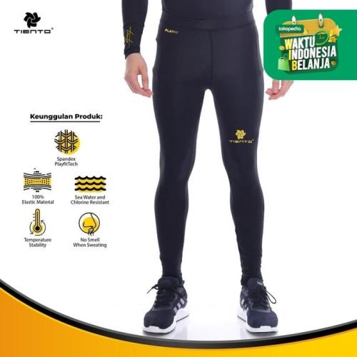 Foto Produk Baselayer RashGuard Compression Tiento Long Pants Black Gold Original - S dari TIENTO