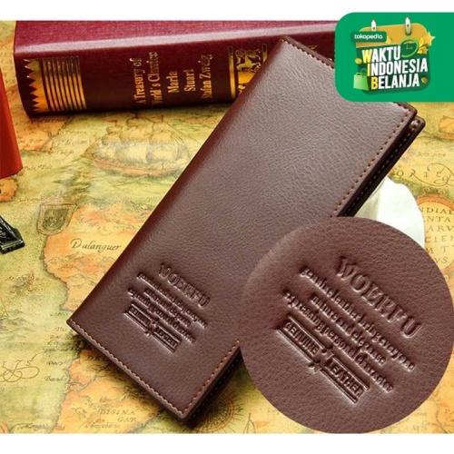 Foto Produk WOERFU Dompet Panjang Wanita Dompet Kulit Pria Long Wallet Clutch Mode - Cokelat Tua dari lbagstore