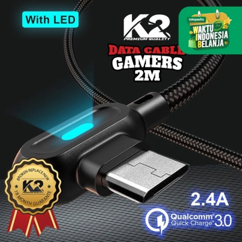Foto Produk Kabel Data GAMING LED 2M K2-C08 K2 PREMIUM QUALITY MICRO Fast Charging - Hitam dari K2 Official Store