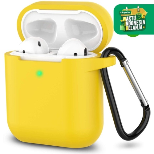 Foto Produk Casing Apple AirPods 1 2 Silicon Case with Hook LED Visible Airpod - Kuning dari iShop Here