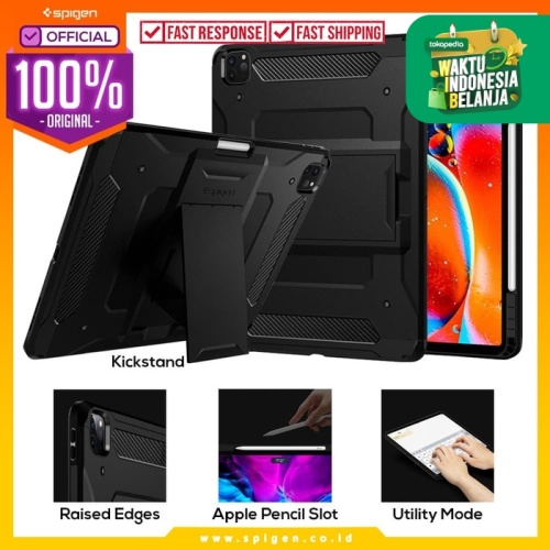 Foto Produk Case iPad Pro 12.9 2020 SPIGEN Tough Armor Pro with Stand & Pencil - Black dari Spigen Official