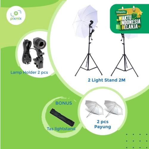 Foto Produk PAKET LAMPU STUDIO | 2 LAMPU U200 - Hitam silver dari pixmix
