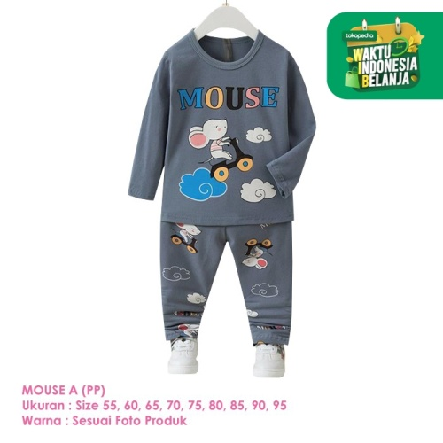 Foto Produk Baju Setelan Anak Laki-Laki Import Lengan Panjang Mouse A Shirton - MOUSE A PP, Size 80 dari shirton