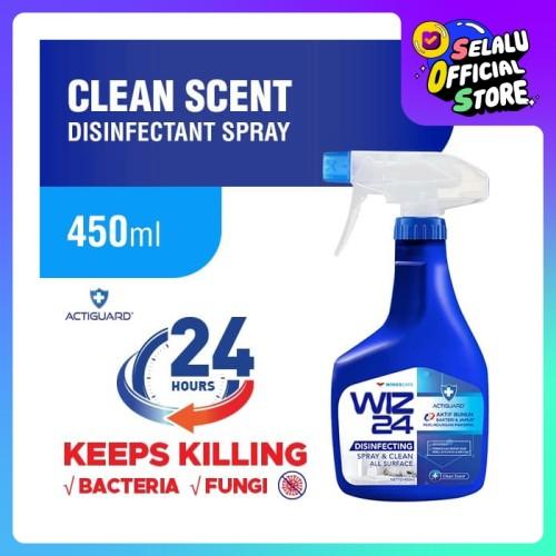 Foto Produk WIZ 24 Disinfectant Spray & Clean - Clean Scent 450ml dari Wings Official Store