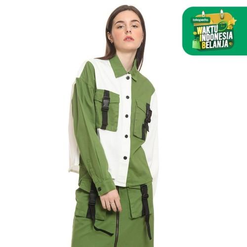 Foto Produk Colorbox Blouse Colour Blocking Shirt Green I-BLWFJN220A015 - Hijau, S dari Colorbox Indonesia