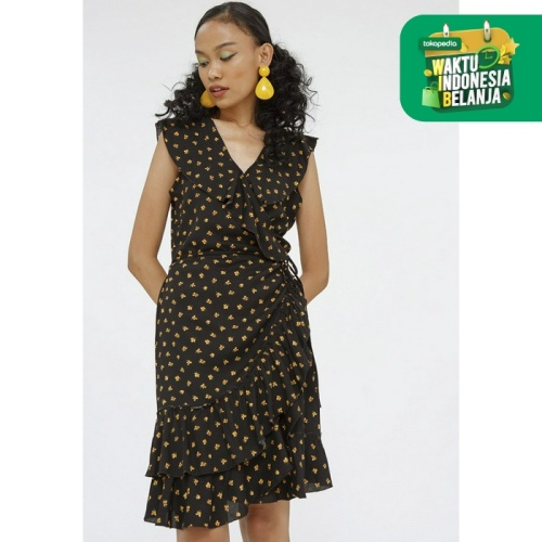 Foto Produk Colorbox Mini Wrap Dress I-Diwkey120F025 Black - Black, L dari Colorbox Indonesia