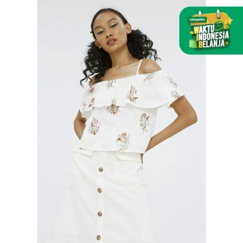 Foto Produk Colorbox Cold Shoulder Blouse With Flare I:Bswfcr120F010 White - White, XL dari Colorbox Indonesia