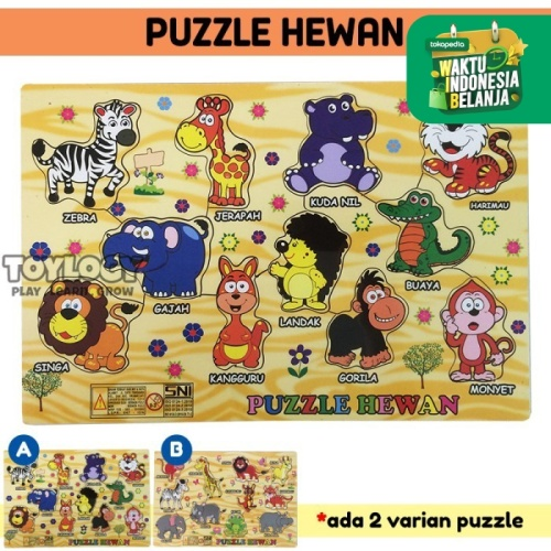 Foto Produk Mainan Edukasi Anak Puzzle Kayu Hewan Fauna Binatang Safari Wooden dari Toylogy