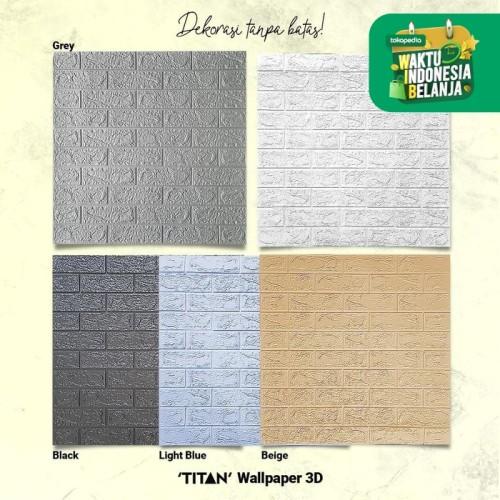 Foto Produk [Go-Jek/Grab] Wallpaper 3D TITAN 6mm -Motif Kayu & Bata- - BATA WHITE dari Carpet Shop Indonesia