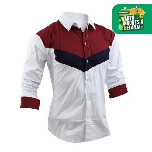 Foto Produk FortKlass RONALD Kemeja Polos Pria Lengan Panjang Kemeja Kerja Formal - Putih, L dari FortKlass