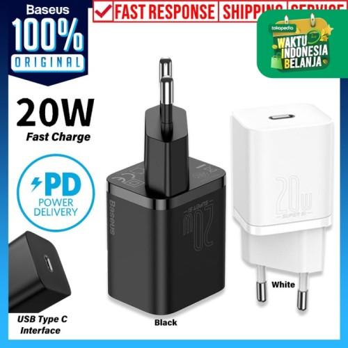 Foto Produk Adaptor Charger USB Type-C Baseus Super Si Quick 20W 1C Kepala Adapter - White dari Unicase Store