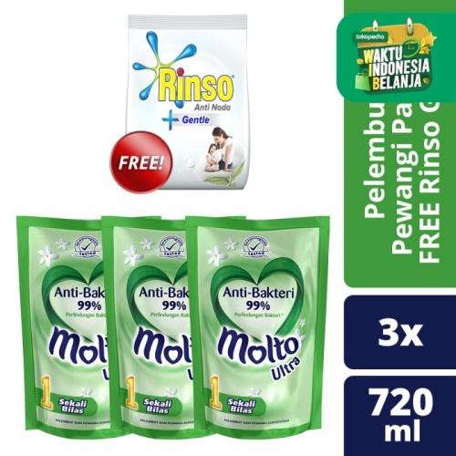 Foto Produk Molto Pelembut Dan Pewangi Hygiene 720Ml isi 3 free Rinso Gentle dari Unilever Official Store